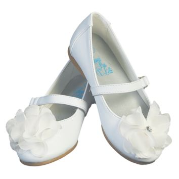 White Dress Shoes with Rhinestone Center Flower & Top Strap Dress Shoes (Baby & Toddler Girls)