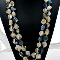 "Hand Knotted Gray Seashell Necklace 56"" Long"