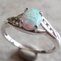 Opal Sterling Ring Size 11 12 Lab Created Opal Sterling Silver Vintage Estate