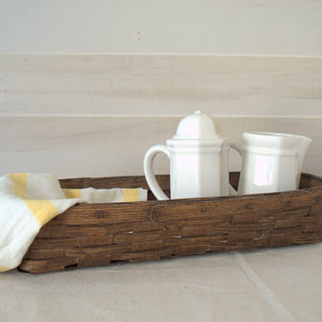 Rectangular Split Wood Basket, Vintage Cane Basket, Long Narrow Wooden Basket