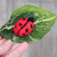 Cute ladybug on leaf, felted brooch, felt jewelry. Perfect gift. OOAK