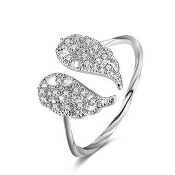 Rhinestone Angel Ring Wing