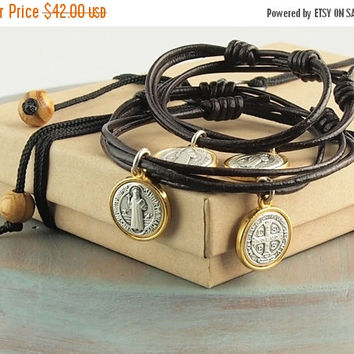 On Sale St.Benedict Bracelet Two Tone Medallion Adjustable Knotted Dark Brown Leather Teen Youth Men's Unisex Gift Baptism Gift Communion Gi