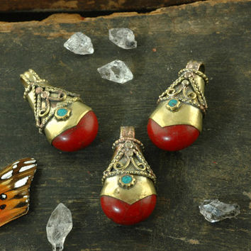 Fire Drop: Nepali Faux-Coral, Turquoise, Brass Pendant / Winter Silk Road Craft, Jewelry Making Supplies, Boho Fashion / 1 pendant 18x38mm