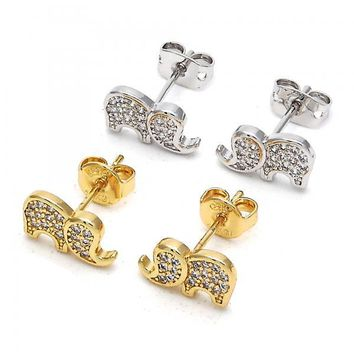 Gold Layered Stud Earring, Elephant Design, with Cubic Zirconia, Golden Tone