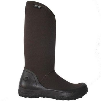 Bogs Kettering   Waterproof Brown Rubber/fabric Pull On Tall Rain Boot