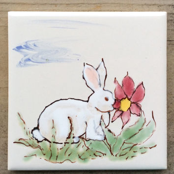 Off-white Ceramic tile, kitchen back splash tile, hand painted tile, farm animal tile, country decor, tile coaster.