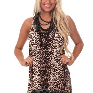 Leopard Print Tunic Tank with Black Lace Trim