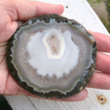 Large Druzy Goede Slice, natural Quartz, Chalcedony, Agate, white and clear, banded geode, natural brown matrix edge, rough, not polished