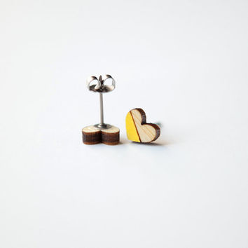 Yellow Heart Wooden Earring Studs || Yellow Earring Studs || Heart Earring Studs || Wood Earring Studs