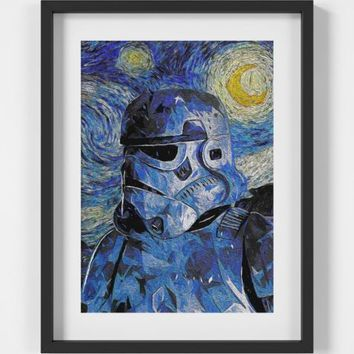 Van Gogh Starry Night Stormtrooper Star Wars Print - A2 A3 A4 - FREE Shipping | eBay
