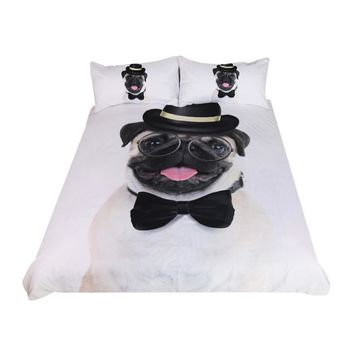 Gentleman Pug Bedding Set (Super Soft Duvet Cover with Pillowcases)