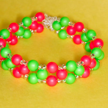 Red and green neon Swarovski bracelet