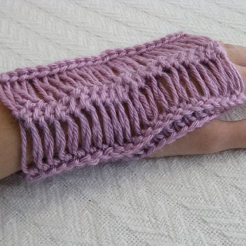Crochet Fingerless Gloves Hairpin Lace