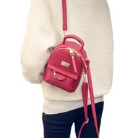 The new female backpack shoulder bag women messenger Mini small backpack College wind pu leather simple retro leisure bag 917