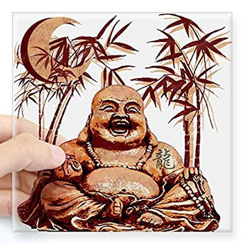 "CafePress - Riyah-Li Designs Happy Buddha Square Sticker 3"" X - Square Bumper Sticker Car Decal, 3""x3"" (Small) or 5""x5"" (Large)"