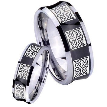 His Her Black Concave Multipe Square Celtic Two Tone Tungsten Wedding Rings Set