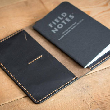 Black Leather Field Notes Cover with Pockets