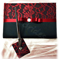 Black and red lace wedding guest book and pen set