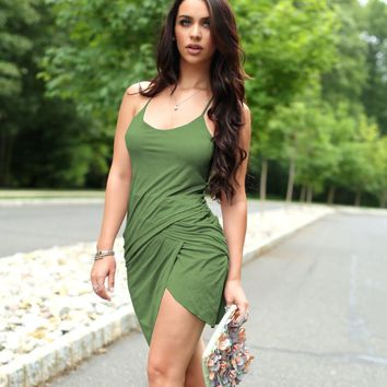 Plain Strap Bodycon Asymmetrical Dress