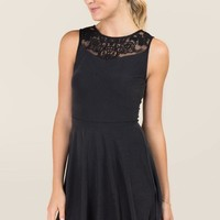 Maxine Lace Neck Cupro A-Line Dress