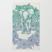 Emerald Elephant in the Lilac Evening Area & Throw Rug by micklyn | Society6