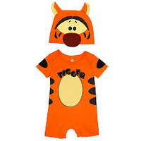 Disney Boys' 2 Piece Orange Tigger Lap Shoulder Romper and Hat Layette Set