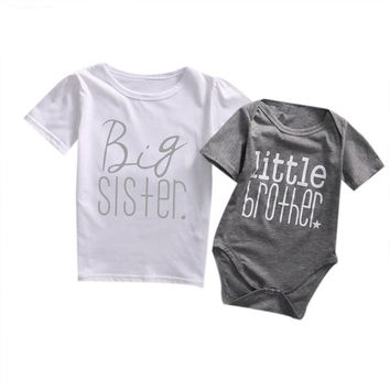 Big Sister. Litter Brother Rompers Baby Kid Child Toddler Newborn
