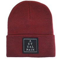 Pyramid Logo Tag // Deep Red // Knit Hat | ACTUAL PAIN