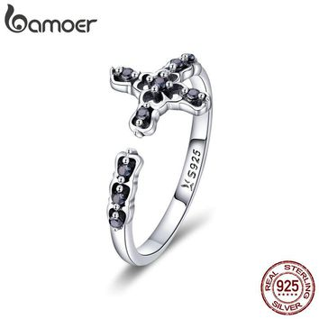 BAMOER Classic 925 Sterling Silver Faith Cross Adjustable Finger Rings for Women Black CZ Sterling Silver Ring Jewelry SCR447