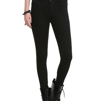 ChiQle Black High-Waisted 2-Button Skinny Jeans