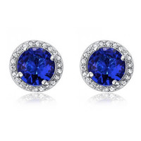 COUTURE 1 Carat Navy Blue Sapphire Stud Clip On Earrings