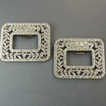 Vintage Art Deco Rhinestone Shoe Buckle Clips