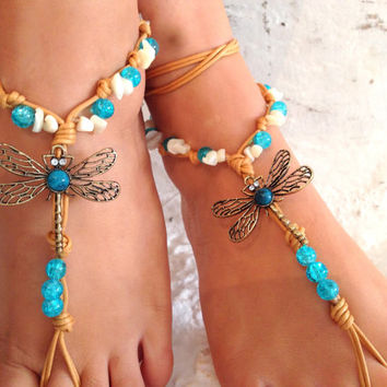 Barefoot sandals. wedding sandals. dragonfly boho barefoot sandals, barefoot sandles, crochet barefoot sandals, , yoga, anklet  hippie shoes