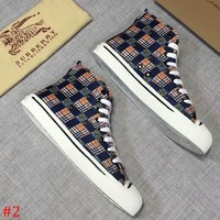 Burberry 2019 early spring new men's high-top flat casual checkered horse sneakers #2