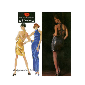 COCKTAIL HALTER DRESS Pattern Sexy Open Back Dress David Howard Climax Simplicity 7612 Bust 29.5 30.5 31.5 UNCuT 90s Vintage Sewing Patterns