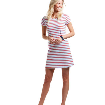 Short-Sleeve Stripe Swing Knit Dress