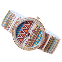Geometric Elastic Bracelet Beaded Stainless Steel Hand Watch