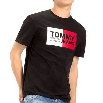 TOMMY JEANS new tide brand cotton letter printed round neck half sleeve t-shirt Black