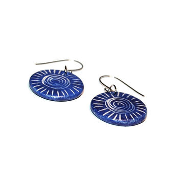 Coloful jewelry ceramic earrings - glowing colors, spiral motif