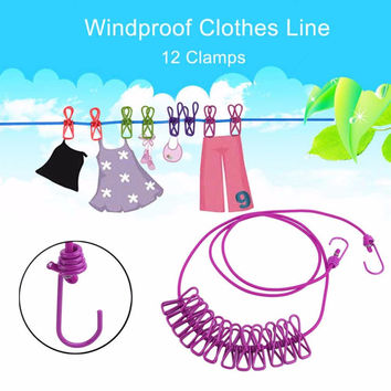6 Colors Portable Outdoor Travel Windproof Clothes Line Drying Rack 12 Clamp Clip Socks Underwear Clothing Clip Holder Hanging