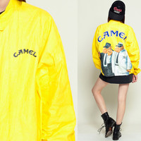 Tyvek Jacket CAMEL CIGARETTES 90s Coat Windbreaker Smoker Plastic Grunge Bright Vintage 80s Hipster Smoking Yellow Extra Large XL