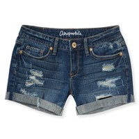 Destroyed Dark Wash Midi Shorts