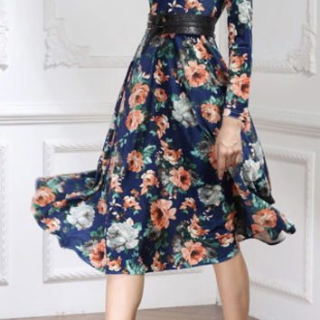 Velvet Dress with Floral Print Long Sleeves Midi Dress Maxi Dress Tea Dress Wedding Dress Vintage Winter Dress
