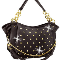 * Rhinestone and Chain Accented Fashion Handbag In Black