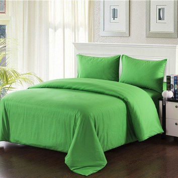 Tache 3-4 Piece Cotton Solid Spring Green Comforter Set With Zipper