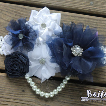 Pregnancy sash, Maternity photo prop, baby shower corsage, baby shower sash, gender neutral sash, navy belly sash, pregnancy photos, reveal