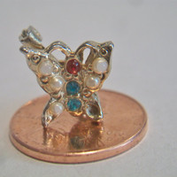 Small Vintage Butterfly Brooch Pin Colorful Costume Jewelry Gold Tone
