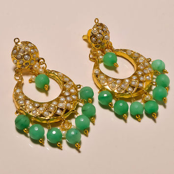 Green Jade Beads & Pearls Beautiful Earrings Handmade Earrings Traditional Indian Earrings