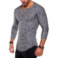 VONWZ7 2018 new Fashion Men's Slim Fit Knitted cotton Long Sleeve Muscle Tee T-shirt Casual Tops casual men skinny solid pullover top